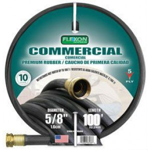 Flexon PH58100 Black Commerical Premium Rubber Garden Hose