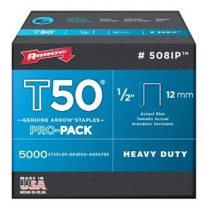 Arrow 508IP Genuine T50 1/2-Inch Staples, 5,000-Pack