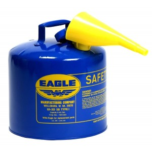 Eagle UI-50-FSB Blue Galvanized Steel Type I Kerosene Safety Can with Funnel, 5 gallon Capacity