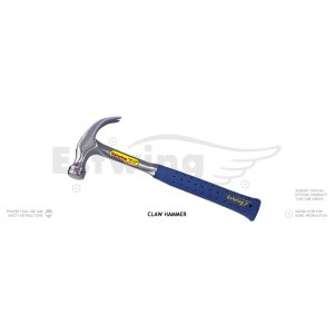 Estwing E3-12C Claw Hammer, Smooth Face, 12-Ounce, Vinyl Shock Reduction Grip