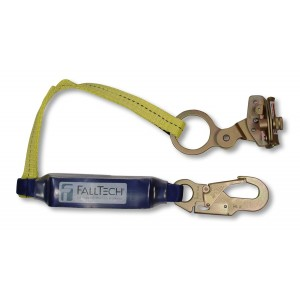 FallTech 7358 Hinged Self-Tracking Rope Grab with Integral 3-Foot ClearPack Shock Absorbing Lanyard