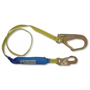 FallTech 7256LT3 SoftPack 6-Foot Shock Absorbing Lanyard with #18 Rebar Hooks
