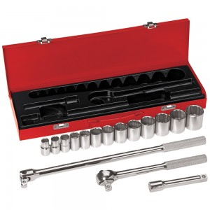 Klein 65512 16-Piece 1/2-Inch Drive Socket Wrench Set