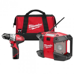 Milwaukee 2492-22 M12 12-Volt Lithium-Ion Cordless 3/8 in. Drill/Radio Combo Kit
