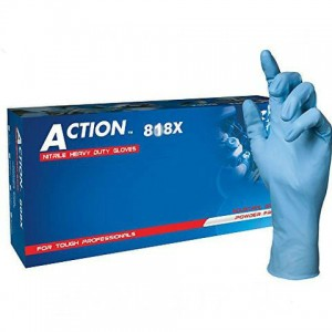 Shamrock Action 818X Nitrile Industrial Textured Powered Blue Gloves