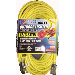 US Wire 74100 12/3 100-Foot SJTW Yellow Heavy Duty Lighted Plug Extension Cord