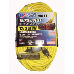 US Wire 760100 12/3 100-Foot SJTW Triple Outlet Extension Cord