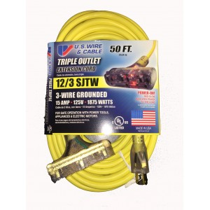 US Wire 76050 12/3 50-Foot SJTW Triple Outlet Extension Cord
