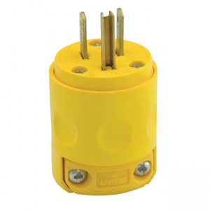 Leviton Yellow 515PV 15 Amp 125 Volt Grounded Plug with Clamp