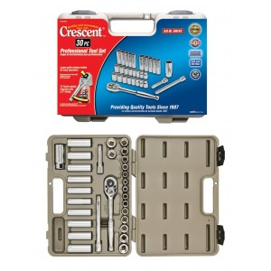 Crescent CTK30SET 12 Point Fractional Metric Standard and Deep Socket Set with Case, 30-Piece