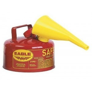 Eagle UI-10-FS Red Galvanized Steel Type I Gasoline Safety Can with Funnel, 1 gallon Capacity