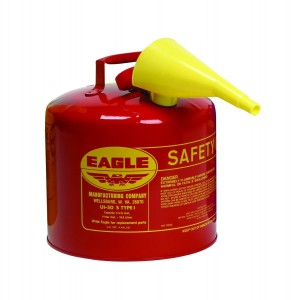 Eagle UI-50-FS Red Galvanized Steel Type I Gasoline Safety Can with Funnel, 5 gallon Capacity