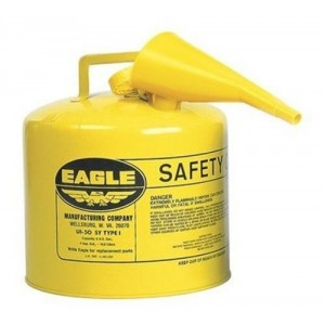 Eagle UI-50-FSY Yellow Galvanized Steel Type I Diesel Safety Can with Funnel, 5 gallon Capacity