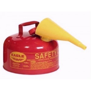 Eagle UI-20-FS Red Galvanized Steel Type 1 Gasoline Safety Can with Funnel, 2 gallon Capacity
