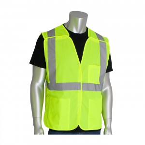 PIP ANSI 107 Class 2 Three Pocket Mesh Breakaway Vest 302-5PMVLY